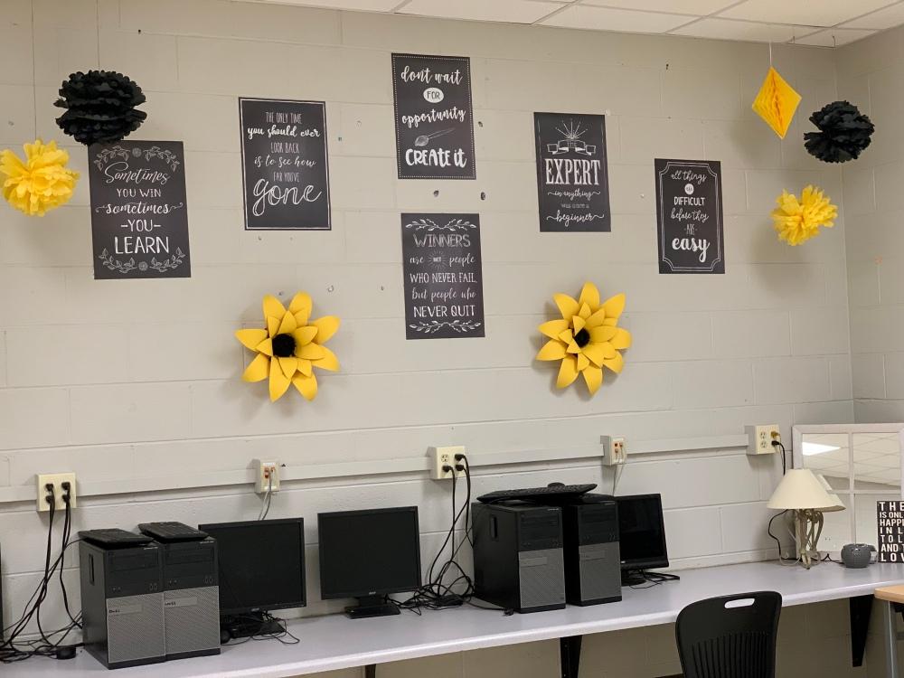 mustard high school classroom decor